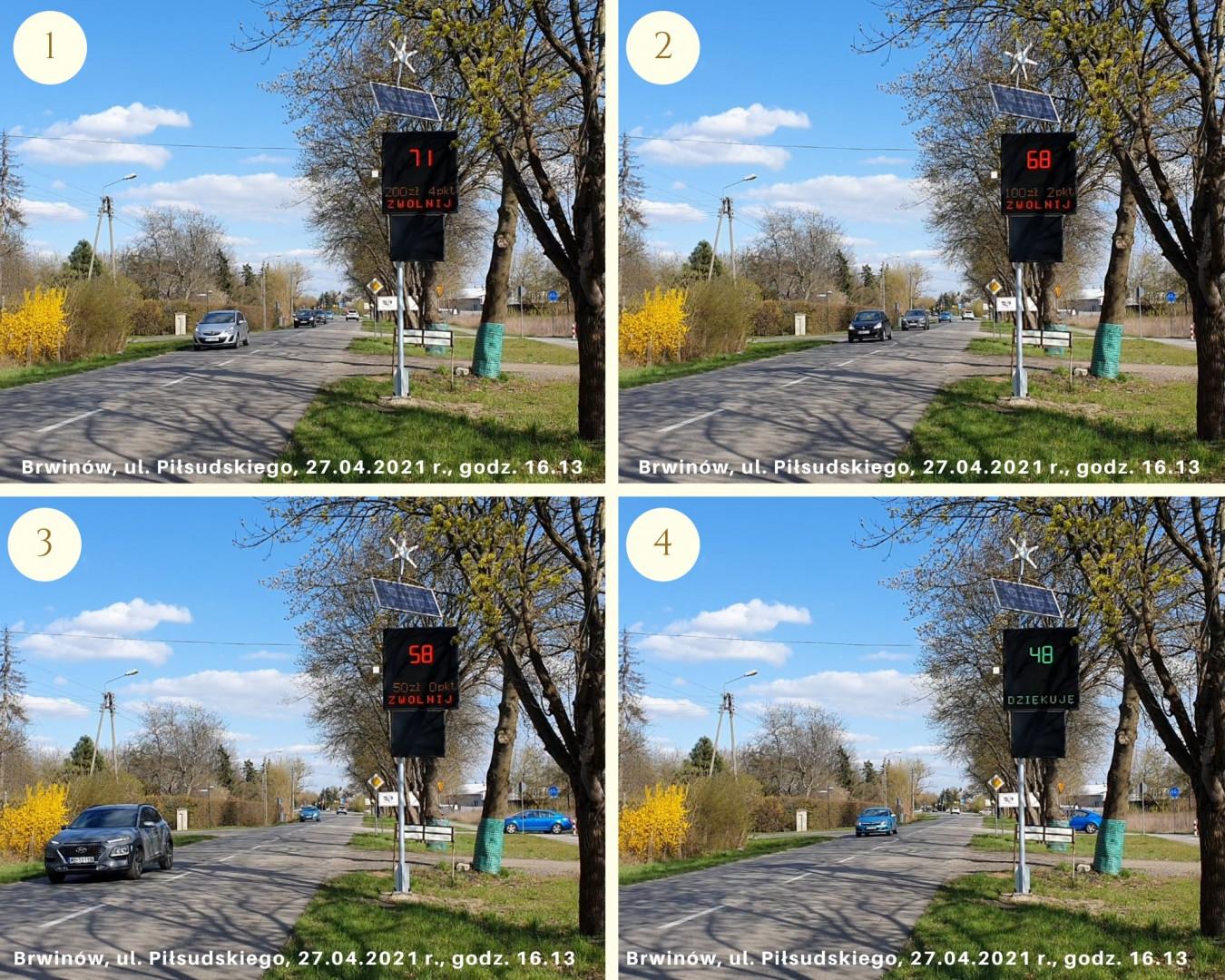 Kolaż zdjęć z komunikatami wyświetlanymi przez urządzenie